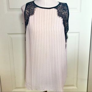 LOFT Sleeveless Blouse Pink with Lace and Dots